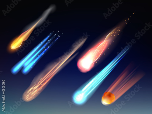 Falling comets. Astronomy collection space bodies stars meteorites cosmic glowing universe vector items realistic template. Illustration comet shooting, asteroid falling and meteorite in sky