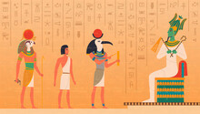 Egypt Mural. Cultural Ancient Characters Painting On Wall Historical Egyptian Background With Gods Osiris Pharaoh Anubis Exact Vector Set. Illustration Egyptian Hieroglyph, Pharaoh Egyptology