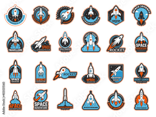 Rocket logo. Infinity shuttle in cosmos lunch startup symbols recent vector illustrations. Rocketship launch rocket logo, flight to moon and mars