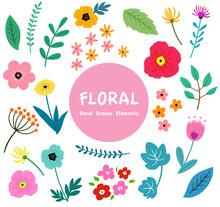 花と葉っぱのイラストセット 植物による手描きテイスト