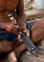 Man Carving A Wood Statue, Milne Bay Province, Trobriand Island, Papua New Guinea