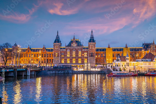 Fototapety, obrazy: Amsterdam Central Train Station in Netherlands