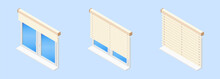 Isometric Vector Illustration Realistic Window Blinds In Open And Closed Form Isolated On Blue Background. Modern Plastic PVC Windows With Horizontal  Blinds Vector Icons In Flat Cartoon Style.