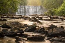 Waterfall At Vickery Creek In Roswell, Georgia