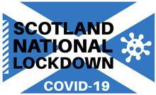 Scotland Covid National Lockdown Vector Illustration On A Scottish Flag Background