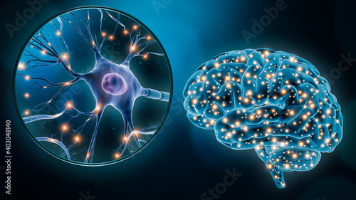 Canvas-taulu Human brain neuronal stimulation or activity with the close-up of a neuron cell 3D rendering illustration