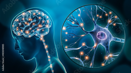 Fototapeta Human brain stimulation or activity with neuron close-up 3D rendering illustration. Neurology, cognition, neuronal network, psychology, neuroscience scientific concepts. obraz