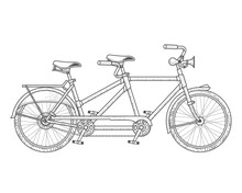 Tandem Bicycle, Twin Bike In Vintage Engraved Style, Old Two Persons Tandem In Graphic Style, Vector