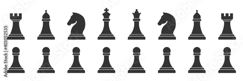 Chess piece icons set Fotobehang