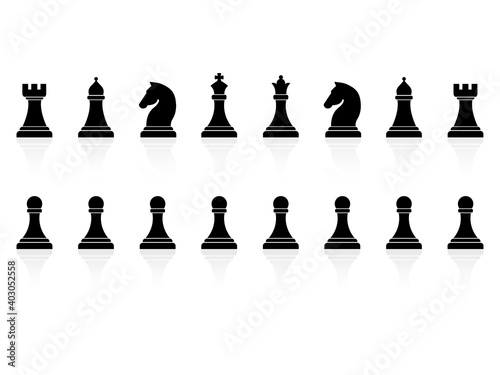 Canvas Chess piece icons set