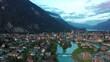 Evening in Alpine city Interlaken, Switzerland