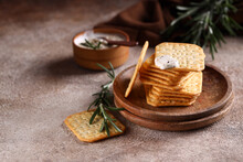 Salty Crackers With Spices For A Snack