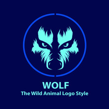 Wolf Eyes Line. Pop Art Logo. Colorful Design With Dark Background. Abstract Vector Illustration. Isolated Black Background For T-shirt