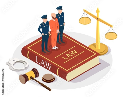 Canvas Print Isometric arrested offender with policeman characters standing on Law book, scales of justice, gavel, handcuffs, flat vector illustration