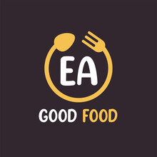 EA Letter Logo Design With Restaurant Concept. Modern Letter Logo Design With Circular Fork And Spoon