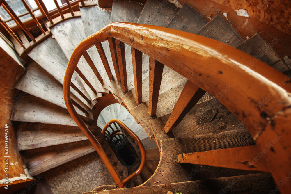 Fototapeta old wooden staircase
