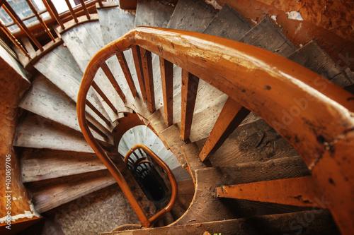 Obraz old wooden staircase - fototapety do salonu