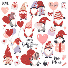 Valentines Day Gnomes With Hearts, Balloons, And Gift Boxes. Perfect For Sticker Kit, Scrapbooking,  Party Invitation, Gift Tags.
