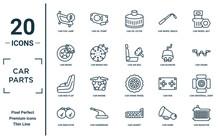 Car.parts Linear Icon Set. Includes Thin Line Car Fog Lamp, Car Brake, Car Mud Flap, Indicator, Radiator, Air Bag, Universal Joint Icons For Report, Presentation, Diagram, Web Design