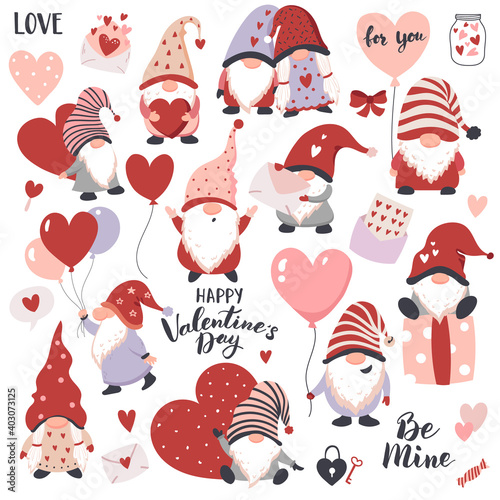 Obraz Valentines Day Gnomes with hearts, balloons, and gift boxes. Perfect for sticker kit, scrapbooking,  party invitation, gift tags. - fototapety do salonu