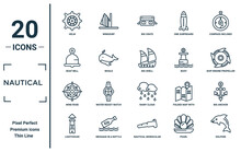 Nautical Linear Icon Set. Includes Thin Line Helm, Boat Bell, Wind Rose, Lighthouse, Dolphin, Big Shell, Big Anchor Icons For Report, Presentation, Diagram, Web Design