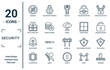 security linear icon set. includes thin line underage, bullet proof vest, police helmet, leg protector, drowning, insight, police shield icons for report, presentation, diagram, web design
