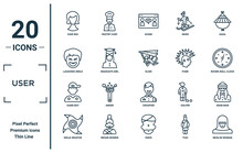 User Linear Icon Set. Includes Thin Line Hair Wig, Laughing Smile, Game Boy, Ninja Weapon, Muslim Woman, Glide, Arab Man Icons For Report, Presentation, Diagram, Web Design