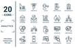 analytics linear icon set. includes thin line dollar analysis bars, stock market, venn diagram, management, flow chart, profit analysis, market research icons for report, presentation, diagram, web