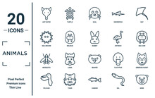 Animals Linear Icon Set. Includes Thin Line Ant Eater, Sea Urchin, Mosquito, Pelican, Mink, Rabbit, Siberian Husky Icons For Report, Presentation, Diagram, Web Design