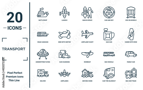 Canvas transport linear icon set