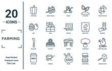 Farming Linear Icon Set. Includes Thin Line Capsicum, Egg, Billhook, Milk Jar, Chicken Coop, Trailer, Weather Vane Icons For Report, Presentation, Diagram, Web Design