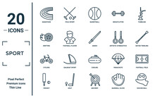 Sport Linear Icon Set. Includes Thin Line Marathon, Drifting, Cycling, Cricket, Soccer Ball, Aikido, Football Field Icons For Report, Presentation, Diagram, Web Design