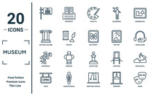 Museum Linear Icon Set. Includes Thin Line  , Antique Column, Botanical, Open, Mask, Butterfly, Geological Icons For Report, Presentation, Diagram, Web Design