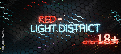 red light district 18+ entertainment 3d-illustration