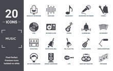 Music Icon Set. Include Creative Elements As Broadcast Microphone, Cowbell, Alarming Bell, Bell Filled Tool, Vintage Loudspeaker, Guitar Pedal Filled Icons Can Be Used For Web Design, Presentation,