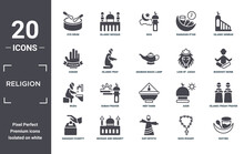 Religion Icon Set. Include Creative Elements As Eyd Drum, Islamic Minbar, Lion Of  Judah, Ner Tamid, Mosque And Minaret, Wudu Filled Icons Can Be Used For Web Design, Presentation, Report And