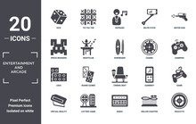 Entertainment.and.arcade Icon Set. Include Creative Elements As Dice, Water Gun, Casino, Cinema Seat, Lottery Game, Lego Filled Icons Can Be Used For Web Design, Presentation, Report And Diagram