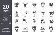 Fairy.tale Icon Set. Include Creative Elements As Armor, Pegasus, Thor, Curupira, Loch Ness Monster, Caribbean Filled Icons Can Be Used For Web Design, Presentation, Report And Diagram