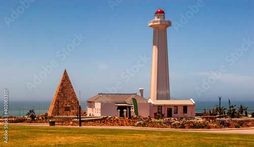 Lighthouse with pyramid at Durban harbour, South Africa