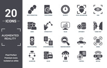 Augmented.reality Icon Set. Include Creative Elements As Depth Perception, View, Efficiency, Rearview Mirror, Log In, Remote Control Filled Icons Can Be Used For Web Design, Presentation, Report And
