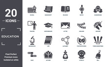Education Icon Set. Include Creative Elements As School, Shakespeare, Garland, Alphabet, Autumn, Microscope Filled Icons Can Be Used For Web Design, Presentation, Report And Diagram