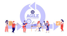 Agile Development Concept. Scrum Team Works On Business Project Moves Color Papers From Start To Finish Process For Analyzing Of Strategic Task. Vector Illustration.