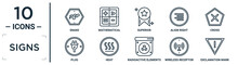 Signs Linear Icon Set. Includes Thin Line Snake, Superior, Cross, Heat, Wireless Receptor, Exclamation Mark, Plug Icons For Report, Presentation, Diagram, Web Design
