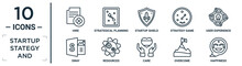 Startup.stategy.and Linear Icon Set. Includes Thin Line Hire, Startup Shield, User Experience, Resources, Overcome, Happiness, Sway Icons For Report, Presentation, Diagram, Web Design