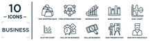 Business Linear Icon Set. Includes Thin Line Two Shopping Bags, Increase Rate, Dual Chart, Dollar On Business Time, Man Presentation, Man With Moustach, Scatter Chart Icons For Report, Presentation,