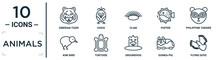 Animals Linear Icon Set. Includes Thin Line Siberian Tiger, Clam, Philippine Tarsier, Tortoise, Guinea Pig, Flying Dove, Kiwi Bird Icons For Report, Presentation, Diagram, Web Design