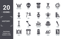 History Icon Set. Include Creative Elements As Viking Helmet, Arrow, Ancient Jar, Viking Ship, Museum, Column Filled Icons Can Be Used For Web Design, Presentation, Report And Diagram