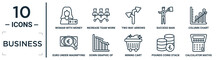 Business Linear Icon Set. Includes Thin Line Woman With Money, Two Way Arrows, Column Chart, Down Graphic Of Business Stats, Pounds Coins Stack, Calculator Maths Tool, Euro Under Magnifying Glass