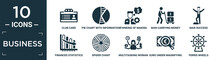 Filled Business Icon Set. Contain Flat Club Card, Pie Chart With Information, Thinking Of Making Money, Man Carrying Money, Man Success, Finances Statistics Descending Bars Graphic, Spider Chart,.