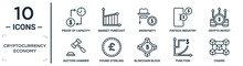 Cryptocurrency.economy Linear Icon Set. Includes Thin Line Proof Of Capacity, Anonymity, Crypto Invest, Pound Sterling, Function, Chains, Auction Hammer Icons For Report, Presentation, Diagram, Web